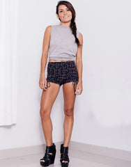 eleven44 High Waist Code Print Shorts Outfit