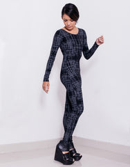 eleven44 Gridlock Print Catsuit Side