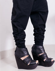 eleven44 Black Low Crotch Pants Legs Details
