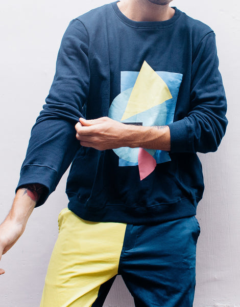 Bleach Project Navy Geometric Print Sweater