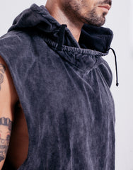 Naken In Da Hood Muscle Tee Black Wash Hood Details