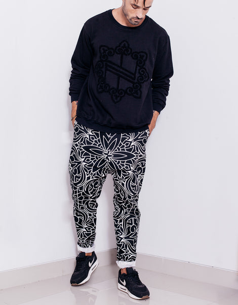 Nemis Abstraction Drop Crotch Pants Black