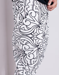 Nemis Abstraction Drop Crotch Pants White Details