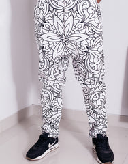Nemis Abstraction Drop Crotch Pants White Front