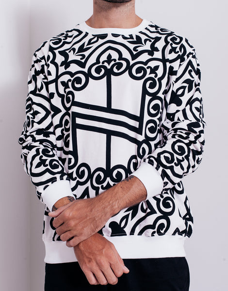 Nemis Knights Full Print Logo Sweater White