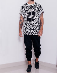 Nemis Knight Full Print Logo Tee Black Outfit