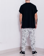 Nemis Abstraction Drop Crotch Pants White back