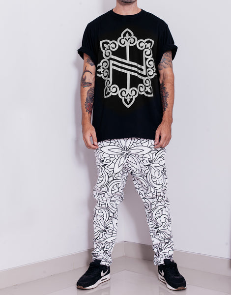 Nemis Abstraction Drop Crotch Pants White