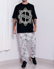 Nemis Oversized Knights Logo Tee Black Silver Sleeves Down