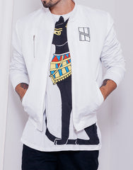 Nemis Logo Bomber Jacket White and Bastet Tee