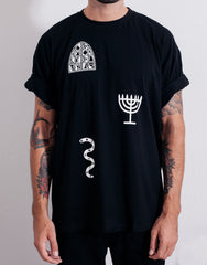 PANTAINANAS Sacrament Tee Black Rolled Sleeves