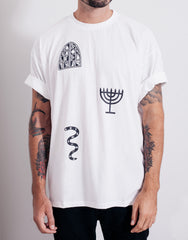PANTAINANAS Sacrament Tee White Rolled Sleeves