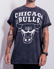 Usual Suspect Oversized Bulls Black Wash Tee Rolled Sleeves
