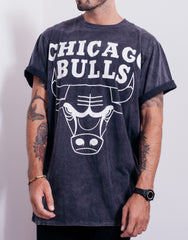 Usual Suspect Oversized Bulls Black Wash Tee Front
