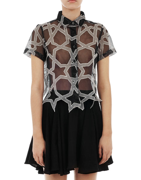 KTZ Geometric Patchwork Cropped Shirt Black / White