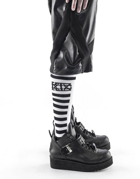 KTZ Socks - Knee Length Rectangular Lines White