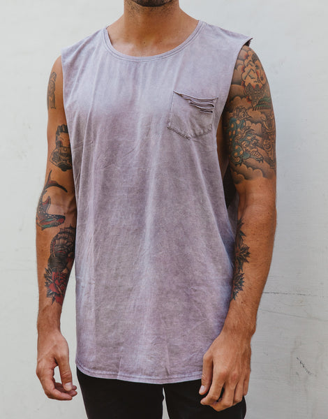 Naken Shredding Muscle Tee Purple Wash