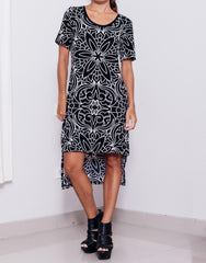 Nemis Women Abstraction T-Shirt Dress Black Front Details