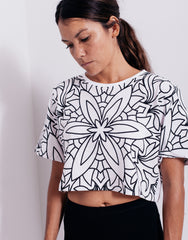 Nemis Women Abstraction Crop Top White Main