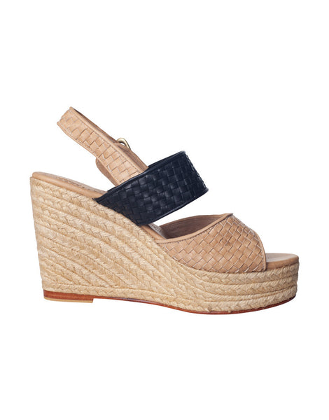 Danny Wedge Woven Black & Nude