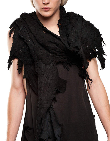 SKINGRAFT Distressed Leather Scarf