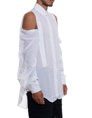 EGR Multi Button Shirt White Side Unbuttoned