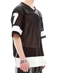 Skingraft jersey in leather and mesh