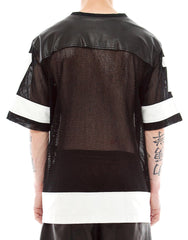 Skingraft leather and mesh jersey
