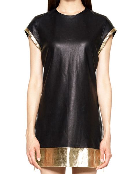 SKINGRAFT Leather Tunic Tee in Gold