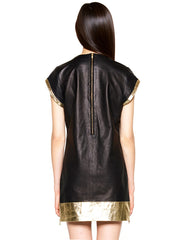 Skingraft Leather Tunic Tee in Gold Back