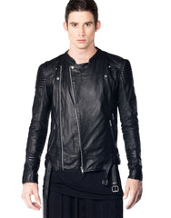 Skingraft Black Motorcycle Jacket Front 2