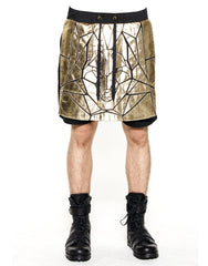 Skingraft Wolf Panel Shorts Gold Front