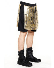 Skingraft Wolf Panel Shorts Gold Side