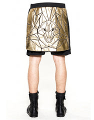 Skingraft Wolf Panel Shorts Gold Back