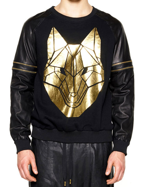 SKINGRAFT Wolf Printed Pullover Gold