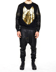 Skingraft Wolf Printed Pullover Gold Outfit
