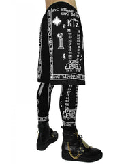 KTZ Church Print Shorts with Leggings Side