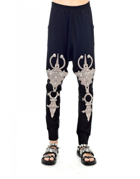 KTZ Embro Metallic Jewel Patch Harem Pants