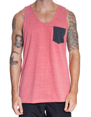 Usual Suspect Maroon Washed Pocket Tank Front