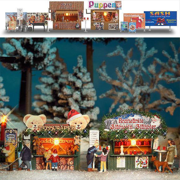 Busch 1060 - Christmas Booths with Accessories (2)