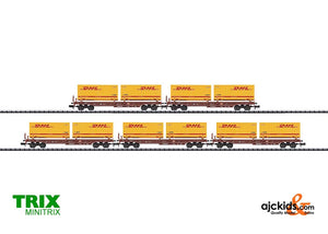 Trix 15272 - Set with 5 DHL Deep Well Flat Cars.