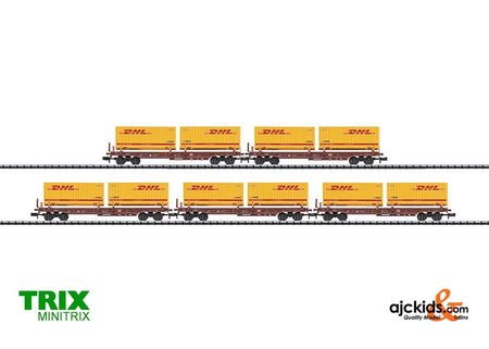 Trix 15272 Set with 5 DHL Deep Well Flat Cars.