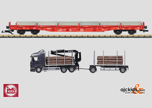 LGB 45921 - Stake Car Set with a Semi-Truck Rig for Lumber and Logs