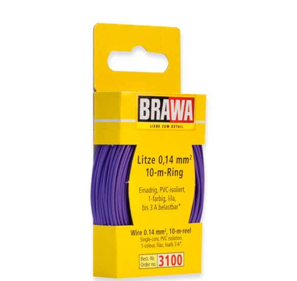 Brawa 3100 - Wire 0.14 MM² 10 m ring lilac