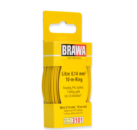Brawa 3101 - Wire 0.14 MM² 10 m ring yellow