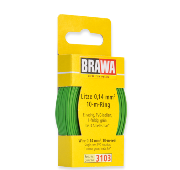 Brawa 3103 - Wire 0.14 MM² 10 m spool green