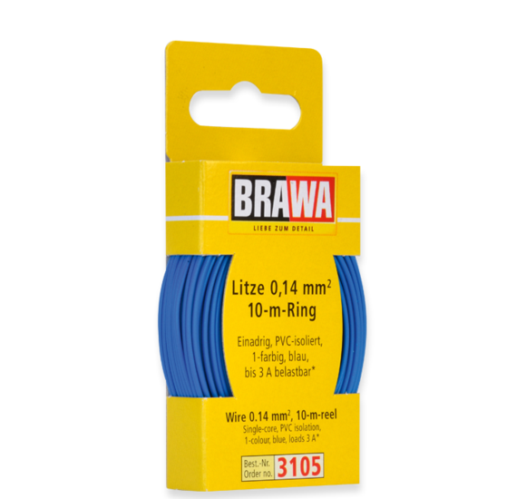 Brawa 3105 - Wire 0.14 MM² 10 m ring blue