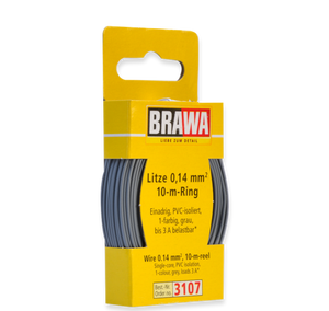 Brawa 3107 - Wire 0.14 MM² 10 m ring grey