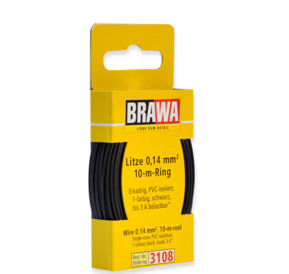 Brawa 3108 - Wire 0.14 MM² 10 m ring black