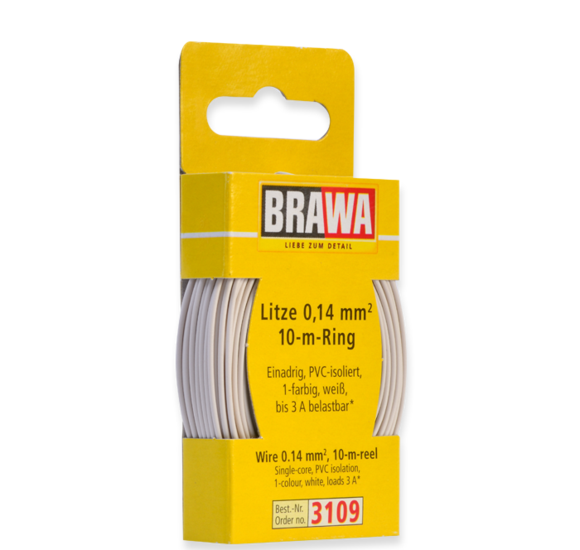 Brawa 3109 - Wire 0.14 MM² 10 m ring white